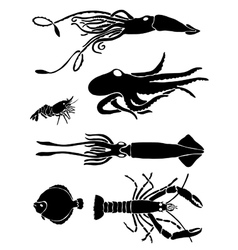 Collection of icons of sea inhabitants vector