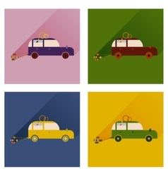 Set of flat icons with long shadow wedding car vector image