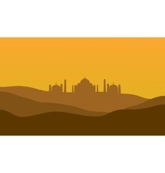 Silhouette of taj mahal vector