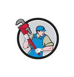 Plumber running monkey wrench circle cartoon vector