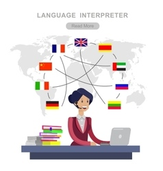 Detailed character language translator vector