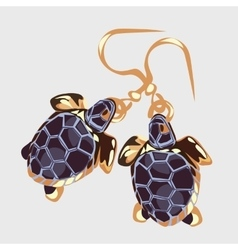 Gold earrings with turtle vintage accessory vector