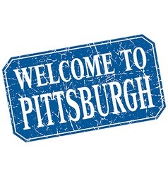 Welcome to pittsburgh blue square grunge stamp vector