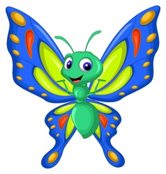 Cute butterfly cartoon flying vector