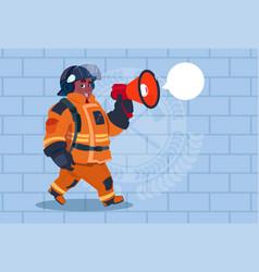 African american fireman speaking in megaphone vector