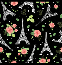black pink eifel tower paris and roses vector image vector image