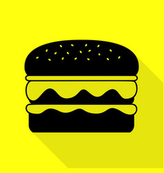 Burger simple sign black icon with flat style vector