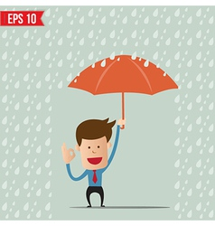 Business cartoon holding umbrella for safety vector image vector image