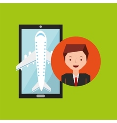 Businessman hand holds mobile application travel vector