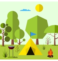 Camping in the woods vector