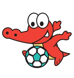 Crocodile Playing Football vector image