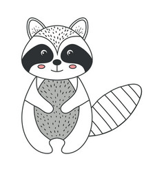 cute and tender raccoon vector image vector image