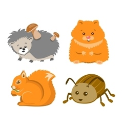 Cute animal squrrel hedgehog hamster beetle vector