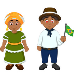 Cute couple brazilians cartoon with national cloth vector