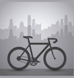 dark bike with cityscape building urban transport vector image vector image