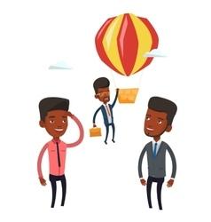 Employee hanging on balloon vector