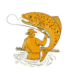 fly fisherman reeling trout drawing vector image vector image