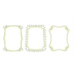 green floral doodle hand drawn frame set vector image