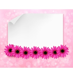 Holiday background with sheet of paper and flowers vector image vector image
