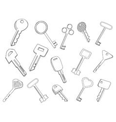 Keys set coloring book vector image
