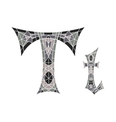 Low poly letter t in gray mosaic polygon vector