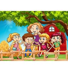 Many kids in the farmyard vector