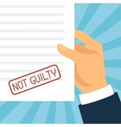 Not guilty concept hand holding paper with stamp vector image