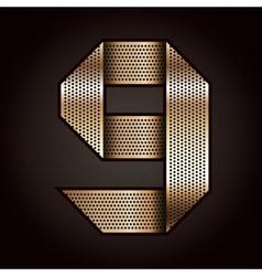 Number metal gold ribbon - 9 - nine vector