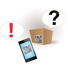 qr code smartphone box vector image vector image