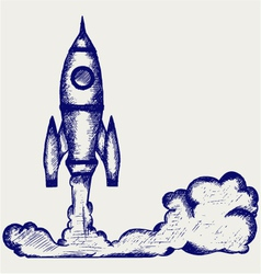 Retro rocket vector image