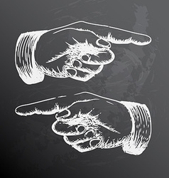 retro Vintage pointing hand drawing vector image vector image