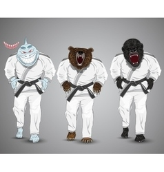 Set of cartoon sports man-sharkman-bear and man vector