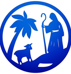 Shepherd and sheep silhouette icon blue on white vector