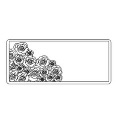 Silhouette rectangular frame with bud roses floral vector