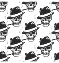 Smoking skull seamless pattern vector image