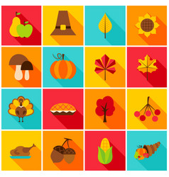 thanksgiving day colorful icons vector image vector image