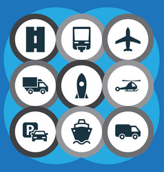 Transport icons set collection of truck vector