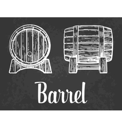Wooden barrel set engraving vector