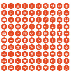 100 fit body icons hexagon orange vector