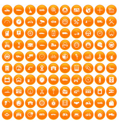 100 garage icons set orange vector