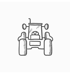 Tractor sketch icon vector image