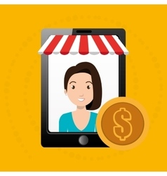 Woman online market money vector