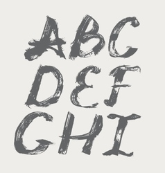 Ink alphabet a to i freehand stylish in raster vector