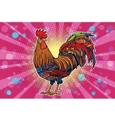 Farm bird rooster on holiday background vector