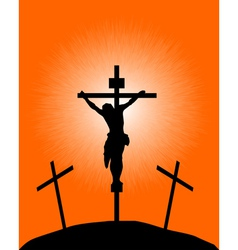 silhouette of a crucifix vector image