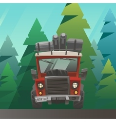 Red loaded truck ride through the summer forest vector