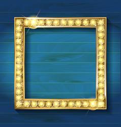 gold frame on wooden background vector image