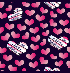 Valentines hearts banner pattern vector