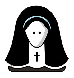 nun icon cartoon style vector image
