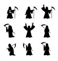 set of grim reaper in silhouette style vector image
